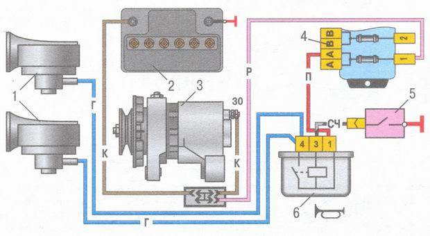 Схема звукового сигнала ВАЗ 2104
