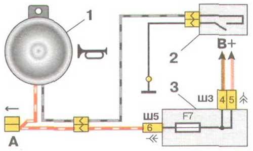 Схема включения звукового сигнала ВАЗ 2110