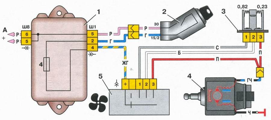 Схема электрической системы отопителя (печки) ВАЗ