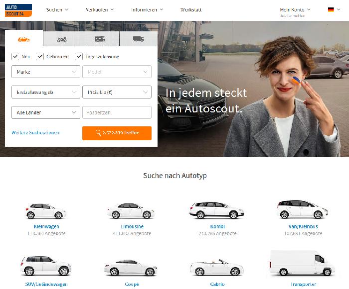 Популярный сайт по продаже немецких автомобилей www.autoscout24.de фото