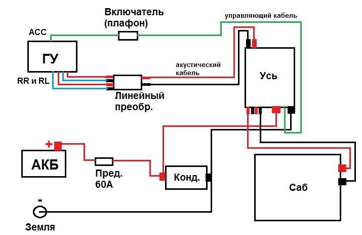 схема подключения конденсатора к сабвуферу фото