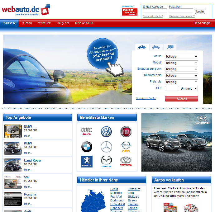 Еще один известный сайт по продаже машин на территории Германии www.webauto.de фото