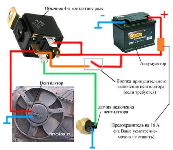 Самостоятельная замена датчика включения вентилятора на ВАЗ 2107 схема