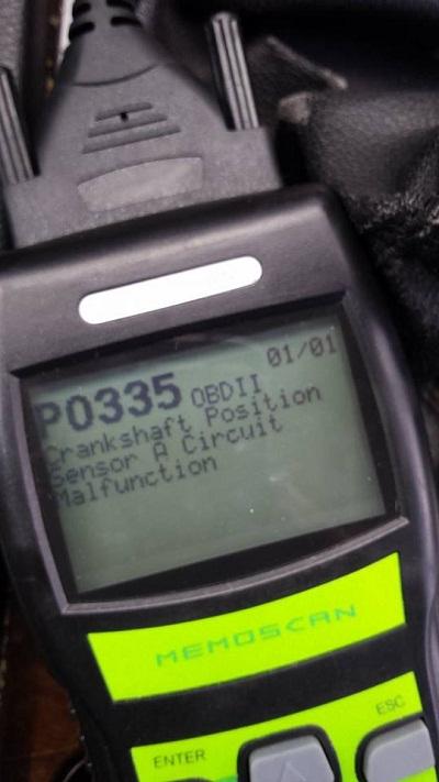 Код P0335 - Ошибка датчика положения коленвала (ДПКВ)