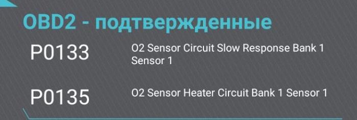 P0133 - Медленный отклик датчика кислорода 1 (банк 1) на обогащение/обеднение
